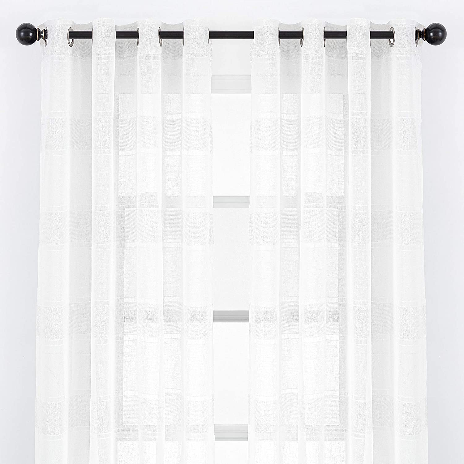 Chanasya 2-Panel Faux Linen Shimmer Textured Sheer Curtain Panels - for Windows Living Room Bedroom Kitchen Office - Elegant Translucent Window Drapes for Home Decor - 52 x 63 Inches Long - White