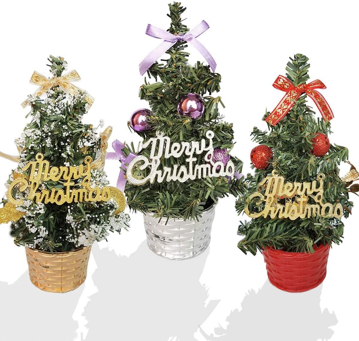Feiyuan Small Christmas Tree Mini Christmas Trees Small Christmas Tree Xmas Decoration Xmas Ornament for Table, Desk Tops, Home Decor, Office (3pcs/20cm)