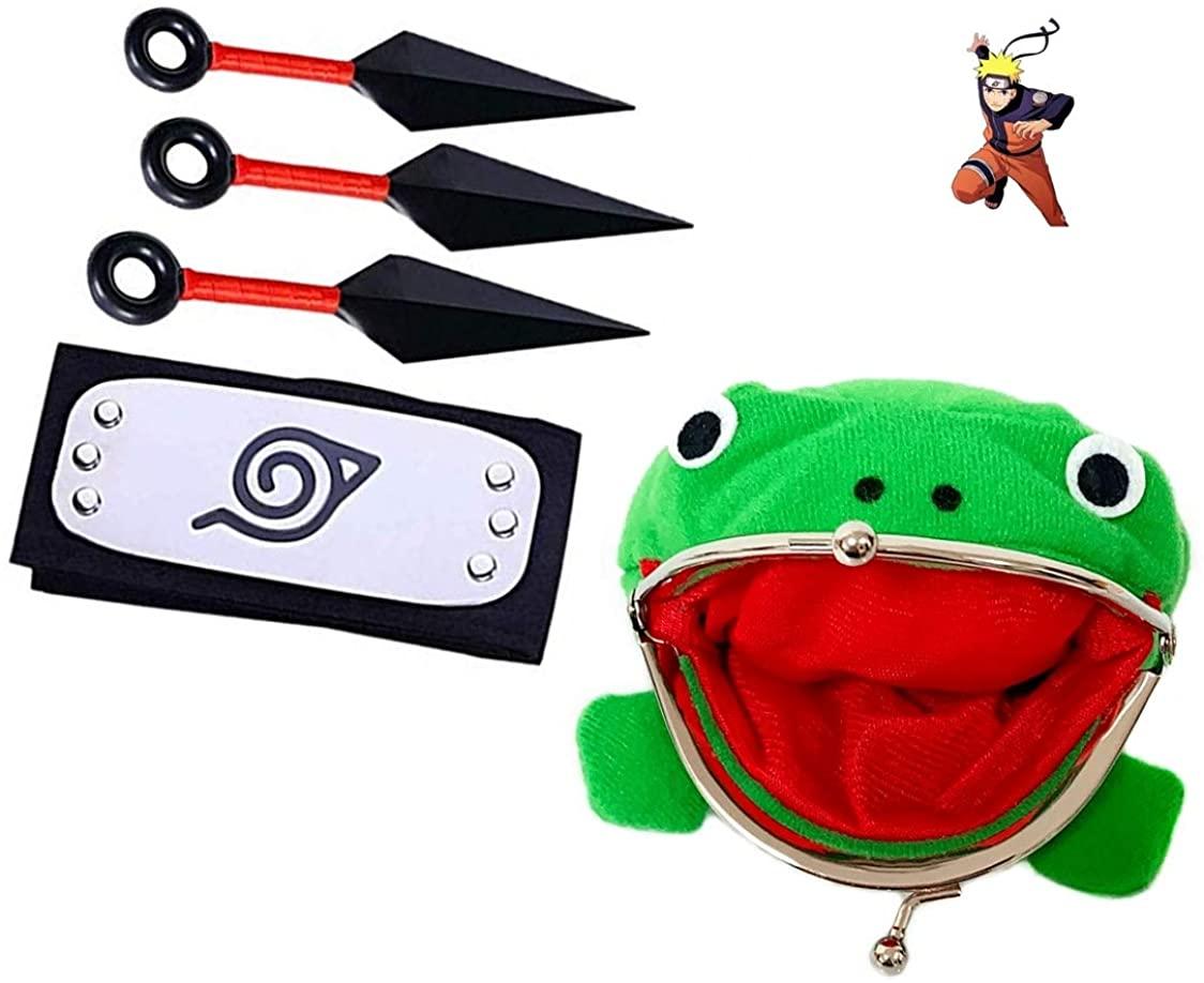 Naruto Headband,Uzumaki Naruto Gama Bunta Frog Wallet, 3 PCS Kunai, Konoha Village Ninja Unisex Naruto Ninja Cosplay