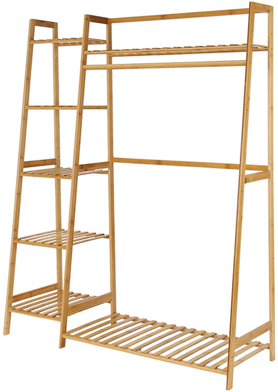 New Bamboo Garment Rack 5 Tier Shelves with Top Bamboo Shelf Coat Clothes Hanging Rack Multi-Function Rack with Storage Bench ndustrial Wood Furniture (Wood Color) (Wood Color)