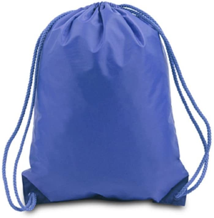 Basic Drawstring Backpack Gym Sack Sport Cinch Bag Team Training Sackpack 12 Pcs (ROYAL)