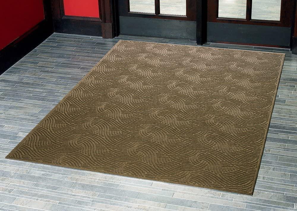 Aquasorb Swirl Indoor/Covered Outdoor Heavy-Duty Entrance Floor Mat, Khaki, 45