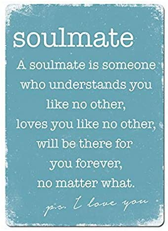 Uptell Soulmate Blue. Metal Wall Sign Plaque Funny Home Coffee or Pub Decor. Slogan Friends - 8x12 inch