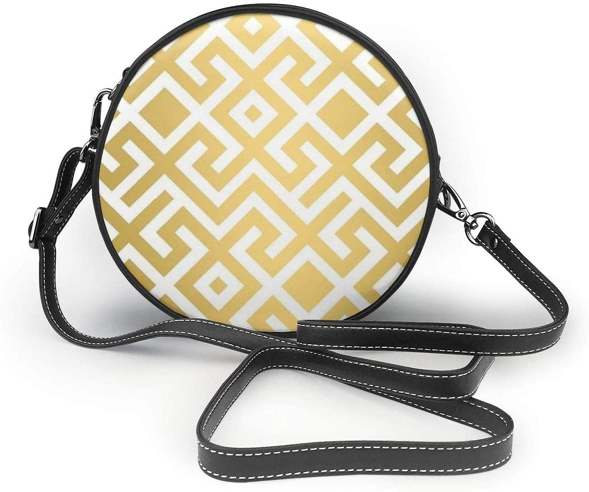 YongColer Womens Fashion Round Crossbody Shoulder Bag Purse Roomy Zippered Round Crossbody Wallet Chic Clutch Handbag (Geometric Gold Bars Printed)