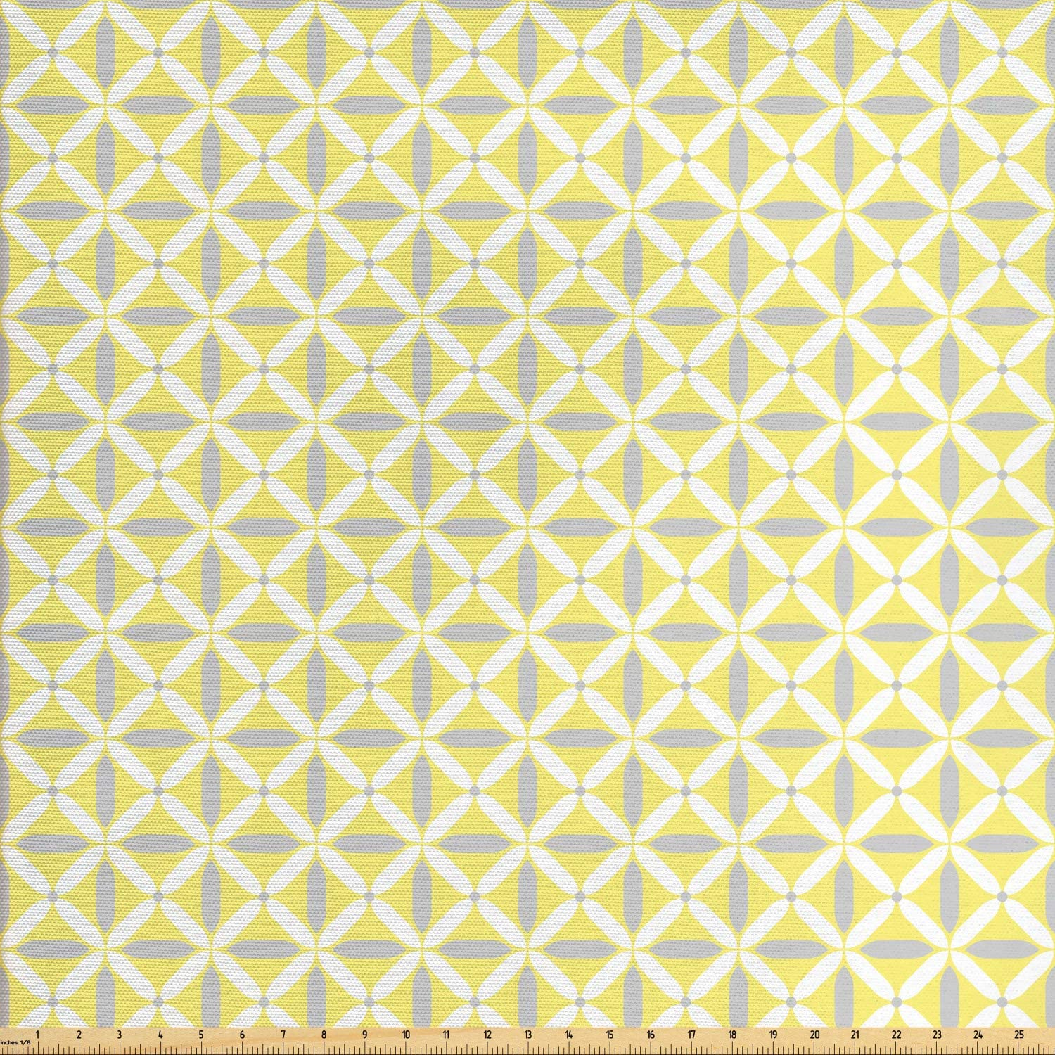Ambesonne Abstract Fabric by The Yard, Print of Energetic Tone Geometric Shapes Contemporary Vibes, Decorative Fabric for Upholstery and Home Accents, 1 Yard, Pastel Yellow Pale Grey