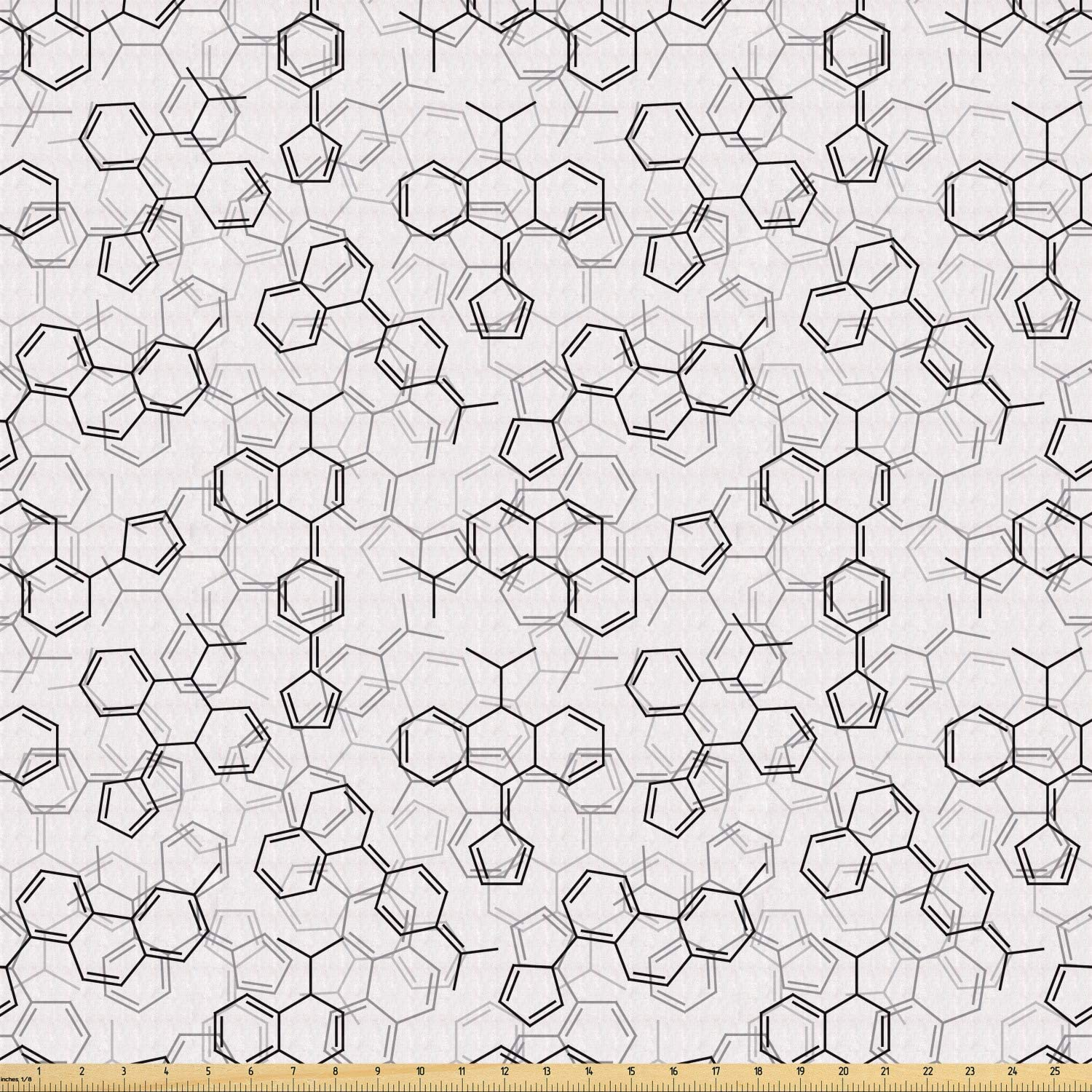 Lunarable Science Fabric by The Yard, Monochrome Arrangement of Complex Microscopic Structures Chemistry Theme, Stretch Knit Fabric for Clothing Sewing and Arts Crafts, 1 Yard, Black White