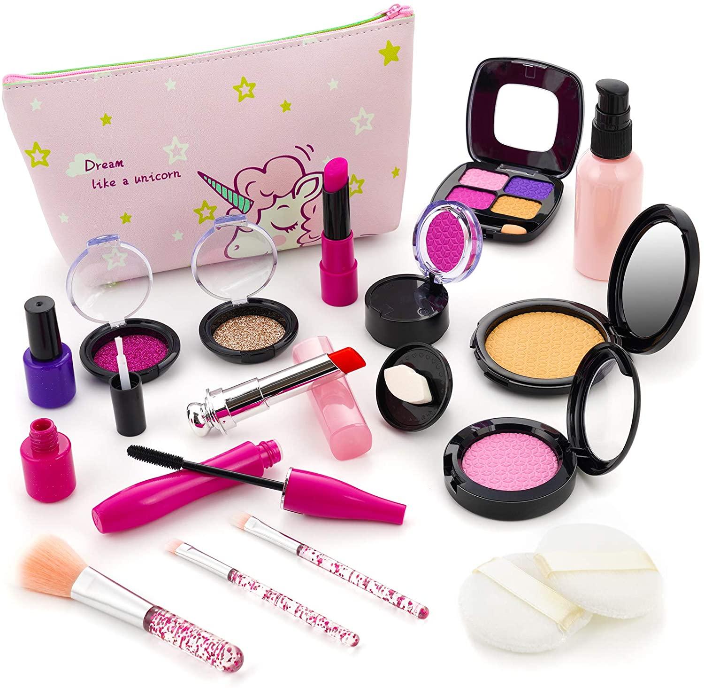 Ranphykx Kids Makeup Kit, Pretend Makeup Toys, 18pcs Girls Makeup Kit for Kids with Cosmetic Bag for Girls Birthday Toys, Pretend Makeup Play for 4 5 6 7 8 Years Old Girls (Not Real Makeup)