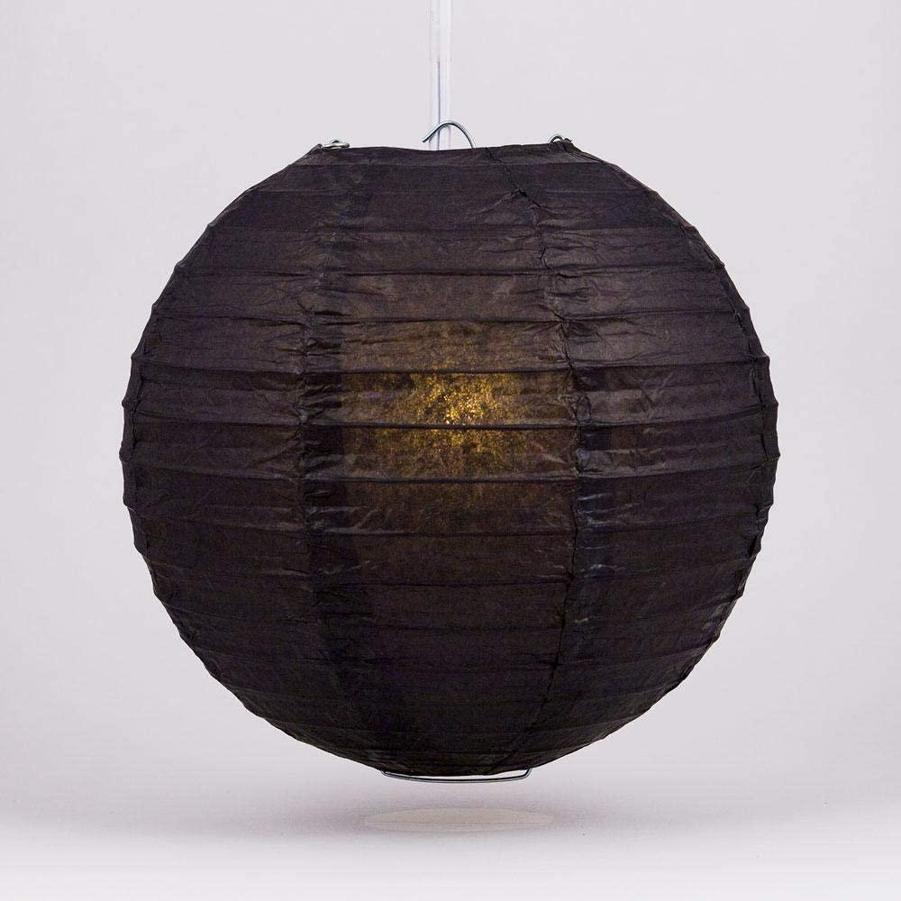 Quasimoon PaperLanternStore.com 16 Inch Black Round Paper Lantern (10 Pack)