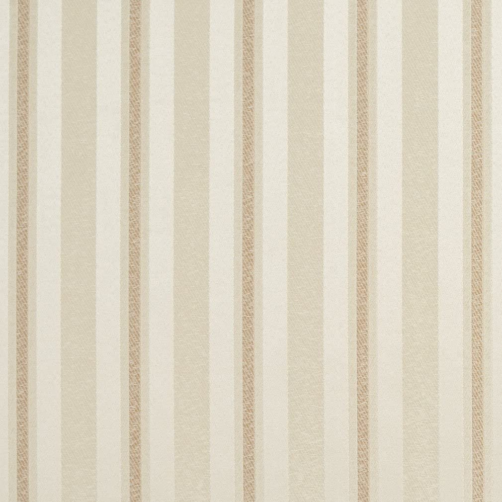 E626 Striped Ivory and Silver Damask Upholstery and Window Treatment Fabric by The Yard