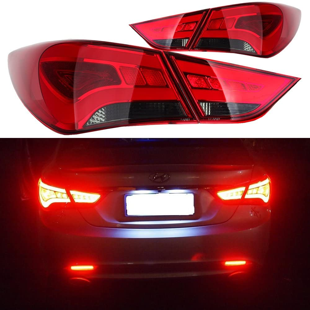 LSAILON Red/Clear Brake Rear Direct OE Replacement Tail Lights for 2011 2012 2013 2014 Hyundai Sonata - Left and Right Side