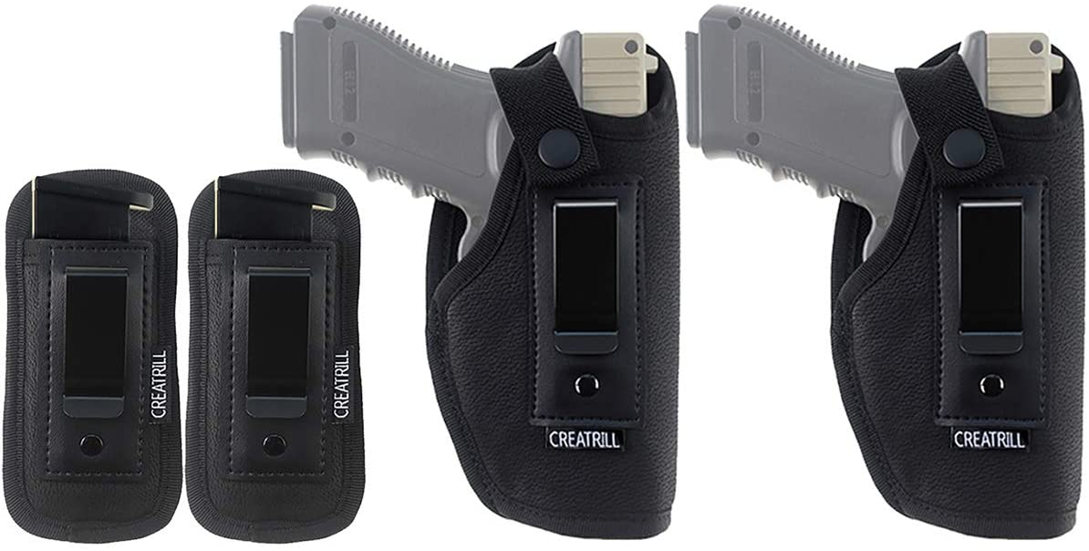 CREATRILL 2 Pack IWB Universal Concealed Carry Gun Holster with 2 Pack Mag Pouch, Magazine Holster   Inside The Waistband Holster Fits Glock 19 26 30, Ruger LC9, S&W M&P Shield 9mm