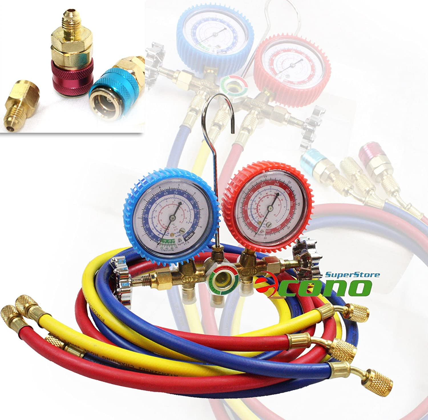 R12 R134a A/c Diagnostic Manifold Gauge Set H/l Quick Coupler Adapter 1/2 Acme