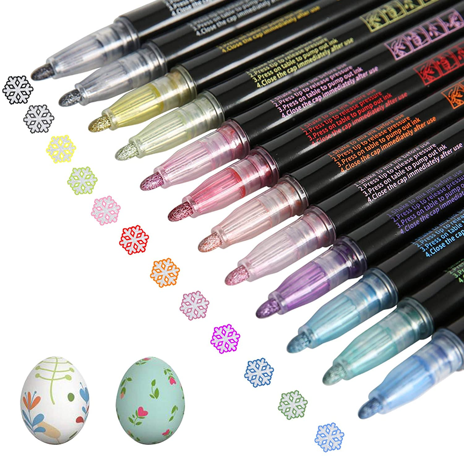 Drawing Double Line Outline Pens Highlighter Markers - Coloring Markers Pens Set Artist Dual Tip Markers Highlighter Watercolor Markers Pens for Adult Children Acrylic Paint Pens (12ct)
