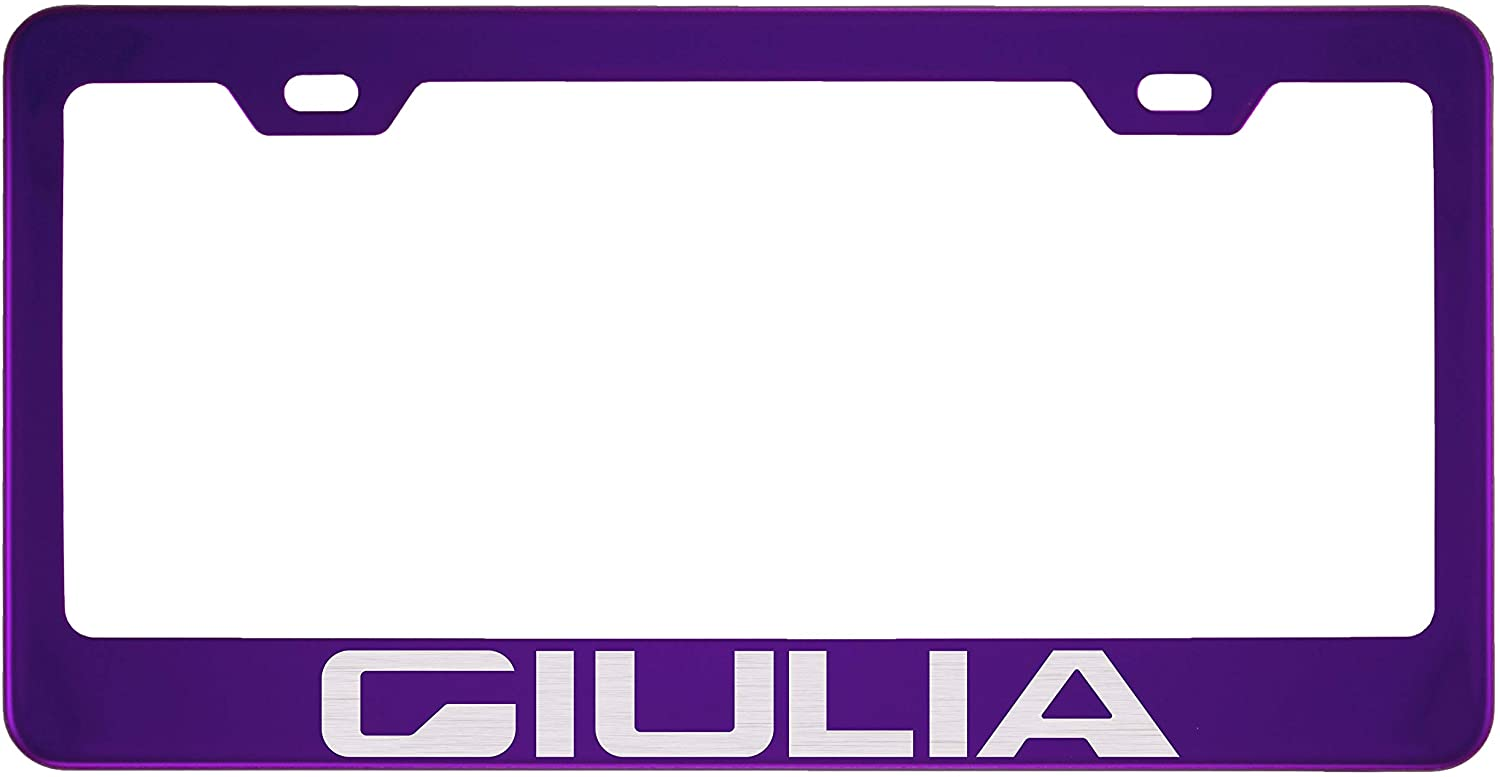 Fit Alfa Romeo Giulia Polished Stainless Steel Purple License Plate Frame (Plating Color)