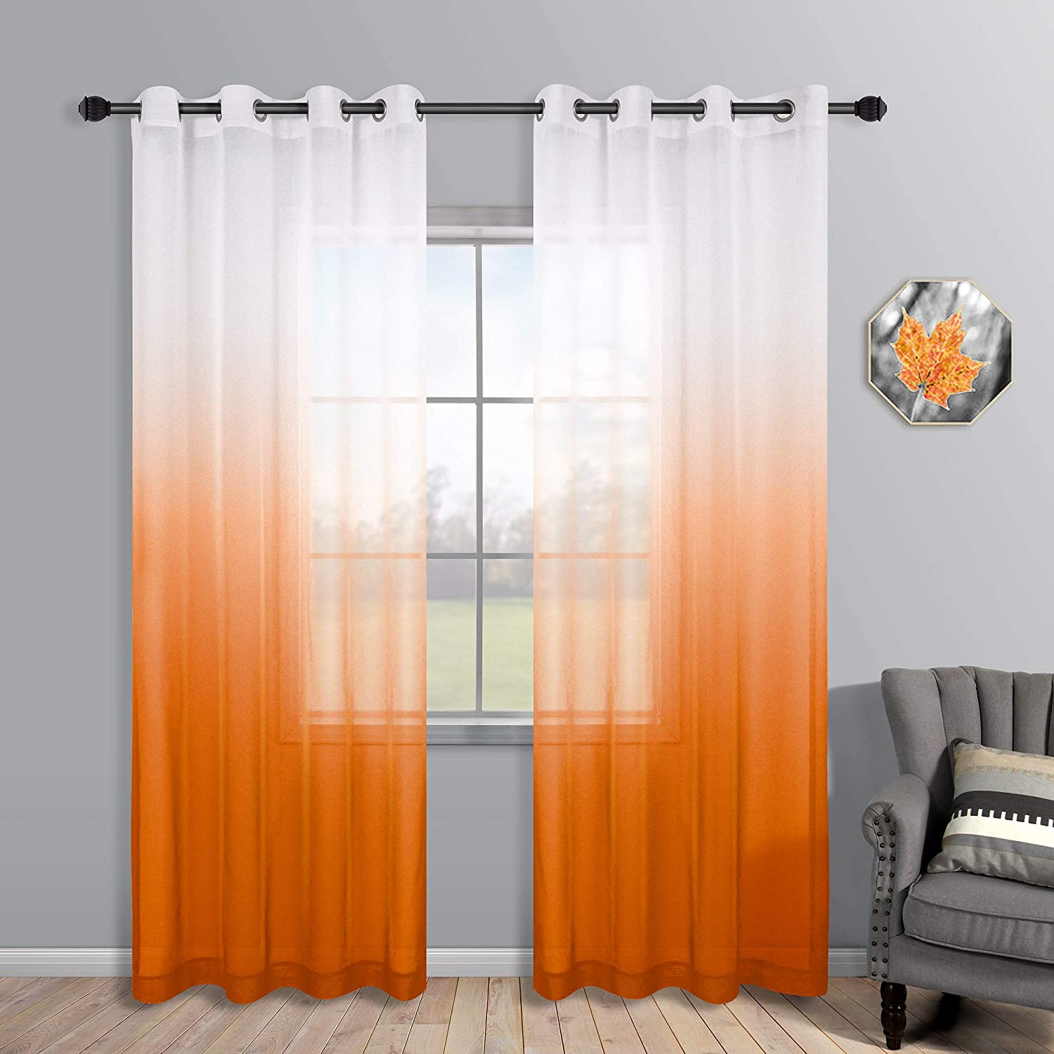 Orange Curtains 84 Inch Length for Living Room Decor Set of 2 Panels Grommet Faux Linen Semi Sheer Ombre Orange Curtains for Bedroom Boys Room Kids Playroom 52x84 Inches Long