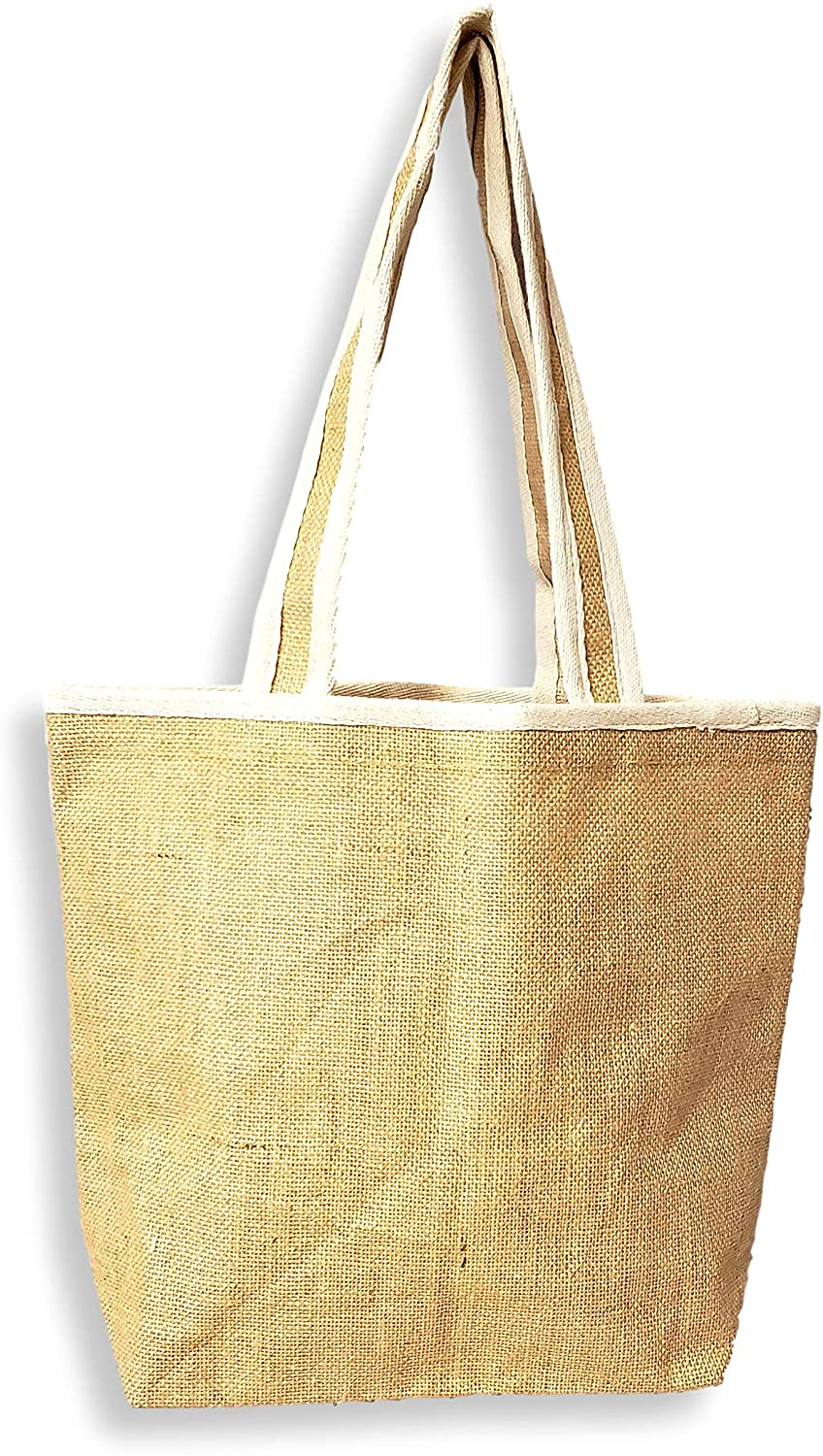 Eco Friendly Small Natural Burlap Tote Bag with Cotton Trim 15 x 12 x 6