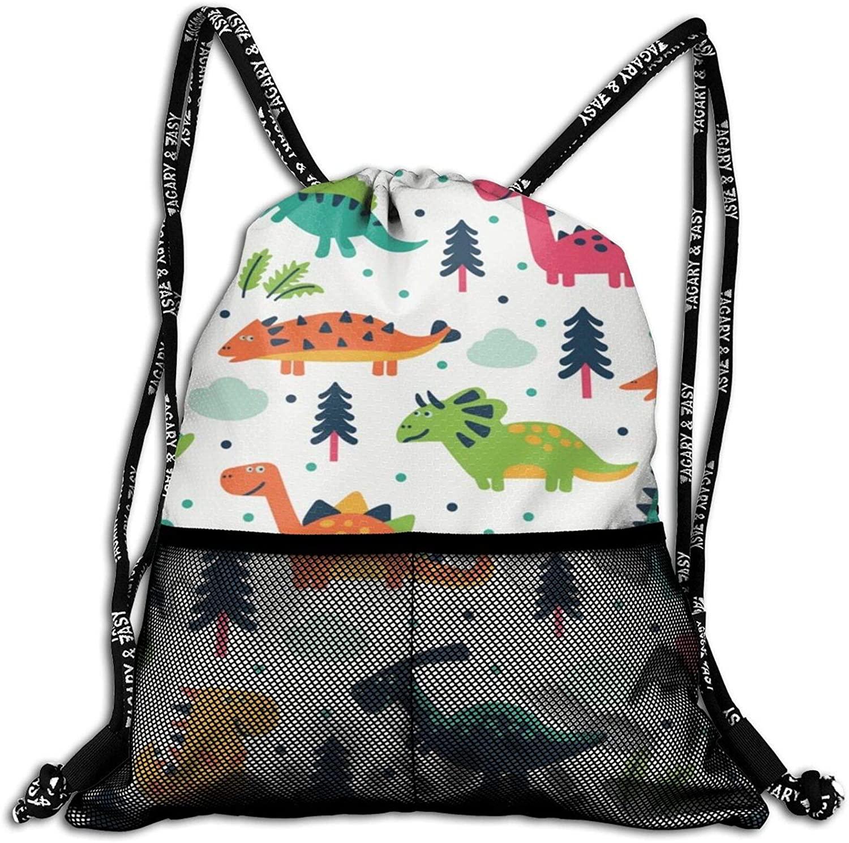 Cartoon Dinosaur Set Drawstring Backpack, Shoulder Bags String Bag Sackpack Cinch Water Resistant for School Travel Gym Shopping Sport Yoga Storage for Women Men