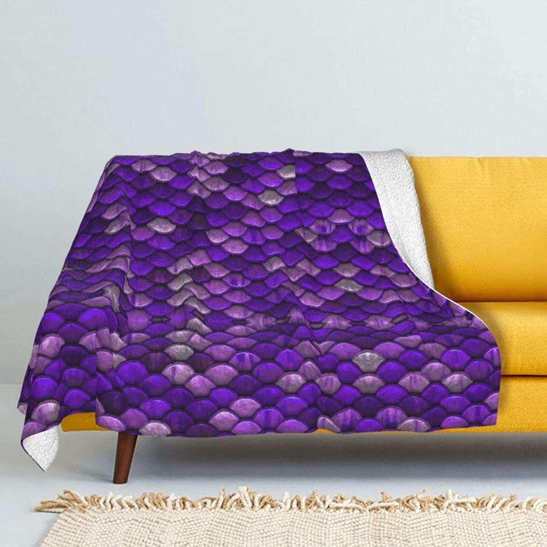 NiYoung Weighted Blanket Quilt Soft Fluffy for Baby Unisex Boys Girls Kids Throw Blanket Lightweight Warm Machine Wash - Purple Mermaid Fish Scales Pattern