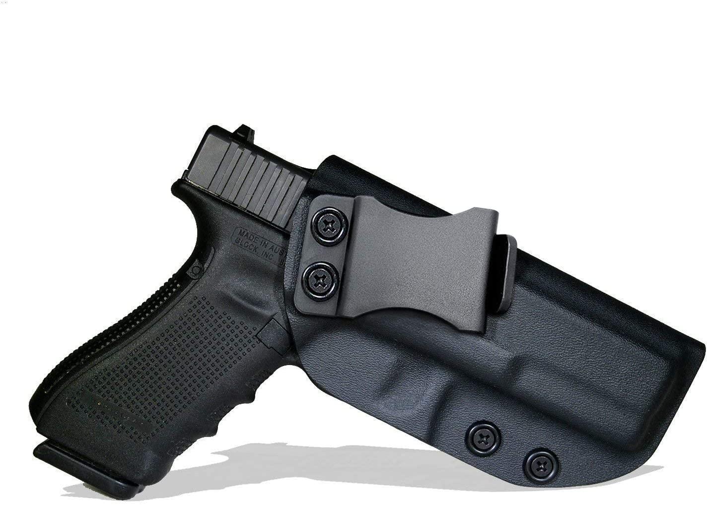 Sland Glock Holster, IWB KYDEX Holster Custom Fit: Glock 17 19 19X 22 26 27 33 43 43X (Gen 1-5)/S&W M&P Shield 2.0-9MM/.40 S&W Inside Waistband Concealed Carry Holster Adjustable Cant & Retention
