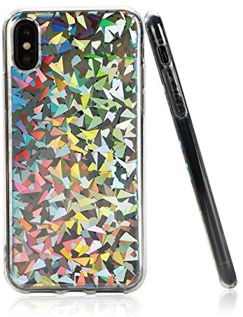 Laser iPhone X Case, iPhone Xs Case, Psychedelic Holographic Sparkle Bling Glitter Shiny Cover with Laser Pattern, Extra Thin Soft TPU Protective Case for iPhone X/iPhone Xs 5.8 inch