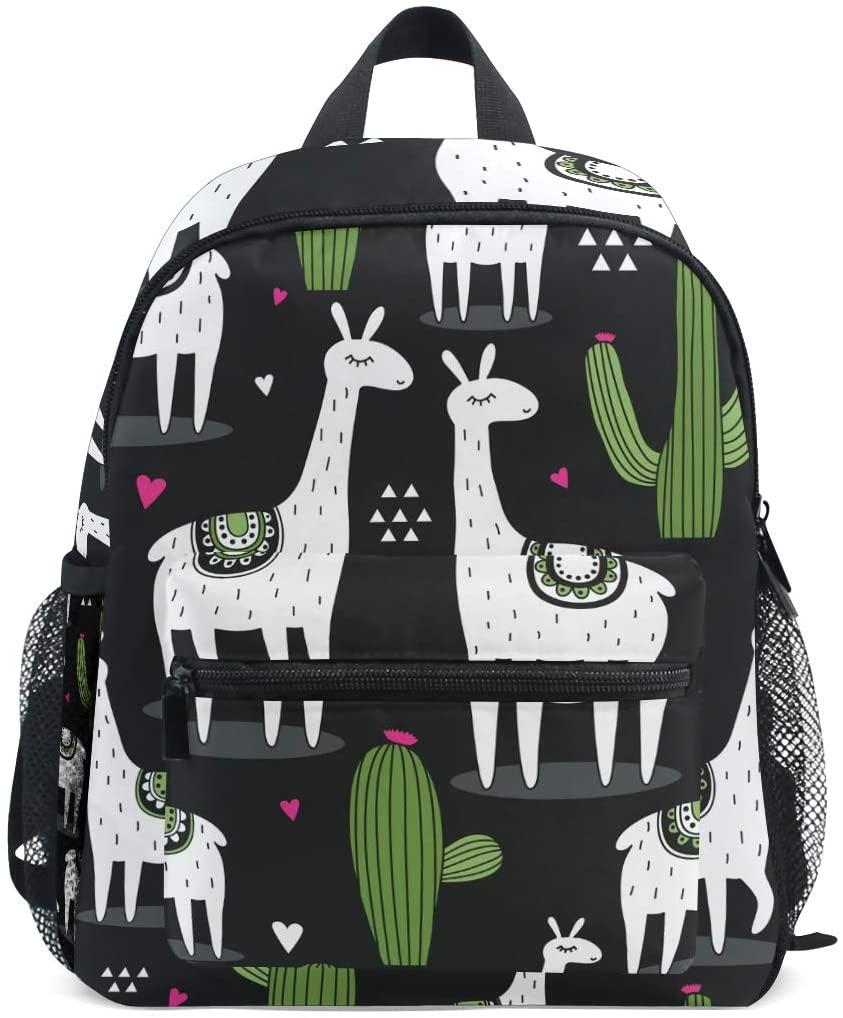 Linomo Cute Lama Cactus Kids Backpack Daypack Rucksack Bookbag Preschool Toddler Backpacks Kindergarten Shoulder Bag for Boys Girls Child