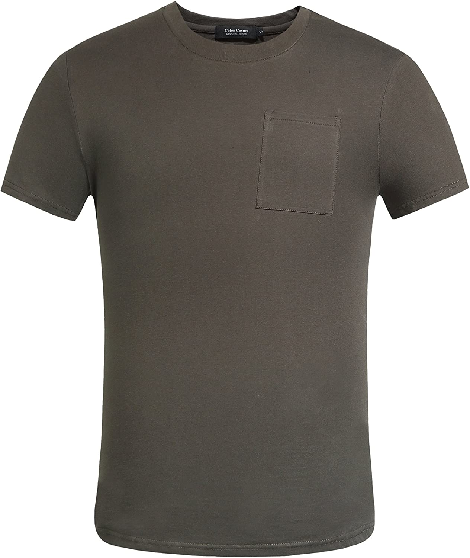 Colen Cosmo Men's Casual Crew Neck Short Sleeve Pocket T-Shirt