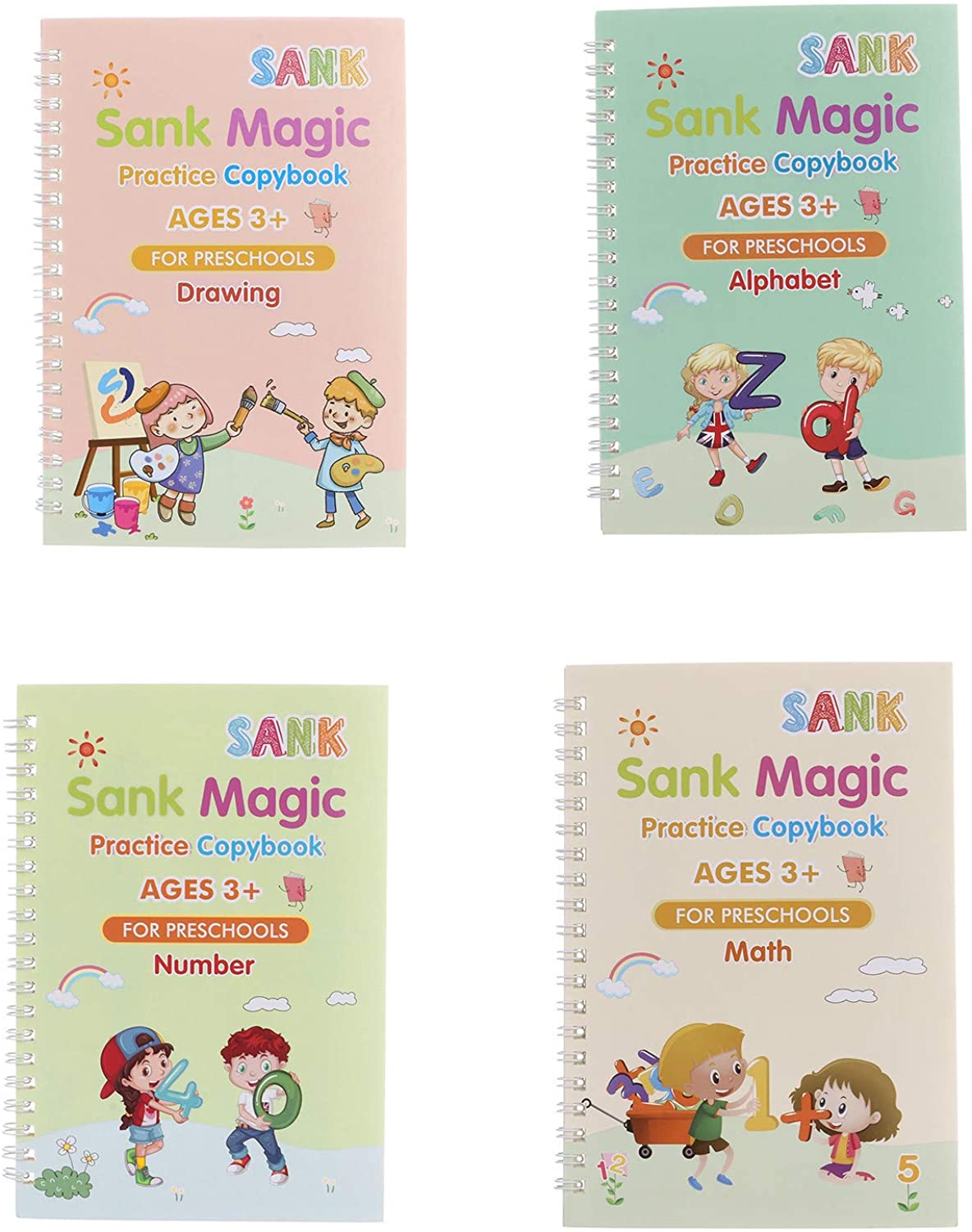 English Magic Practice Copybook, Calligraphy That Can Be Reused Handwriting Copybook Tracing Book Set for Kids