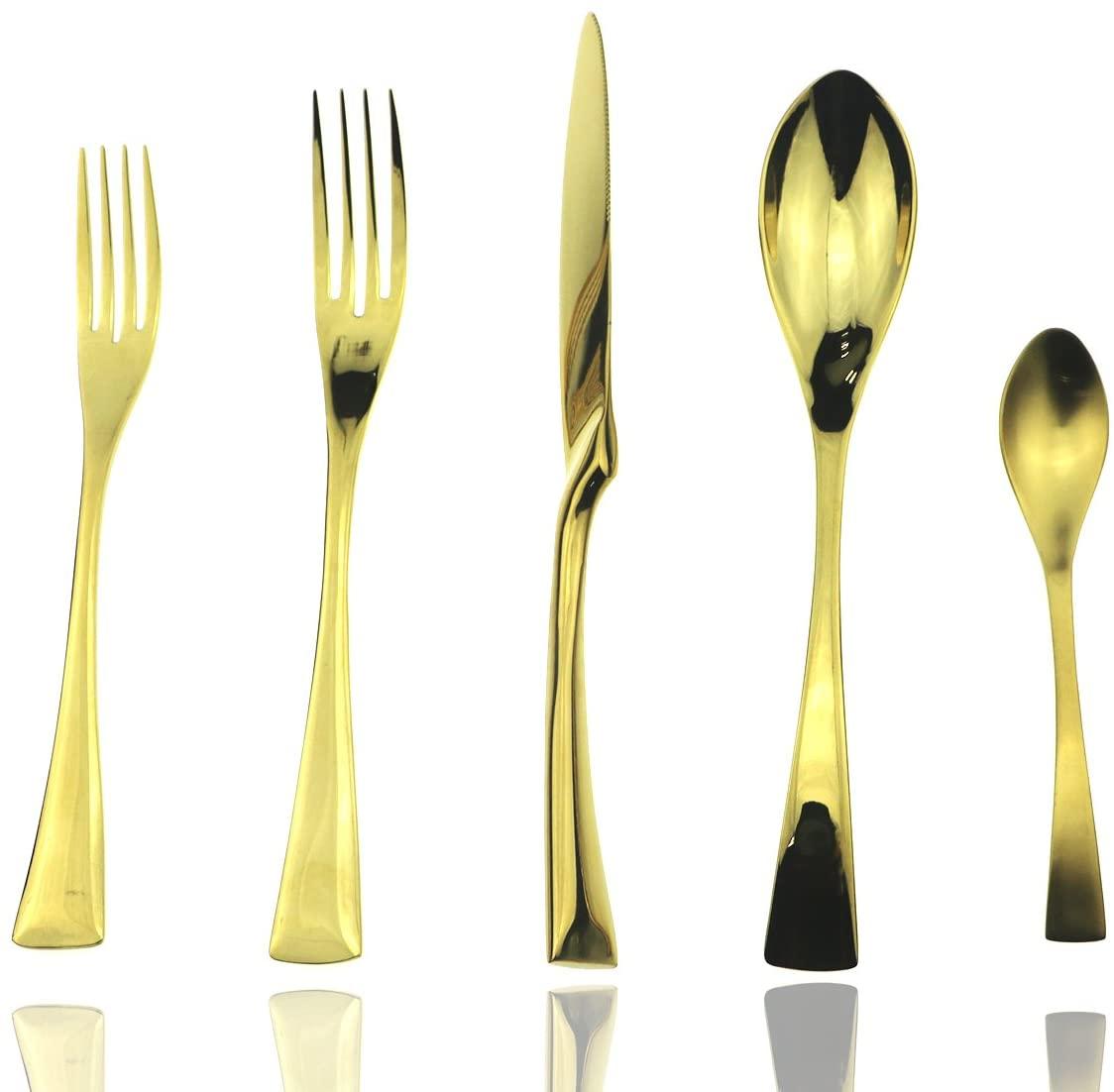 JASHII Luxury Mirror Polishing Gold Flatware Set - 20 Piece Silverware Sets 18/10 Stainless Steel Utensils Service For 4, Dinner Knife Fork Salad Fork w/DINNER COFFEE Spoon