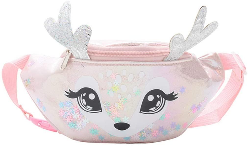 FEIlei Waist Bag, Kids Elk Print Waist Fanny Pack Belt Pouch Travel Hip Bum Shoulder Bag Purse- Pink