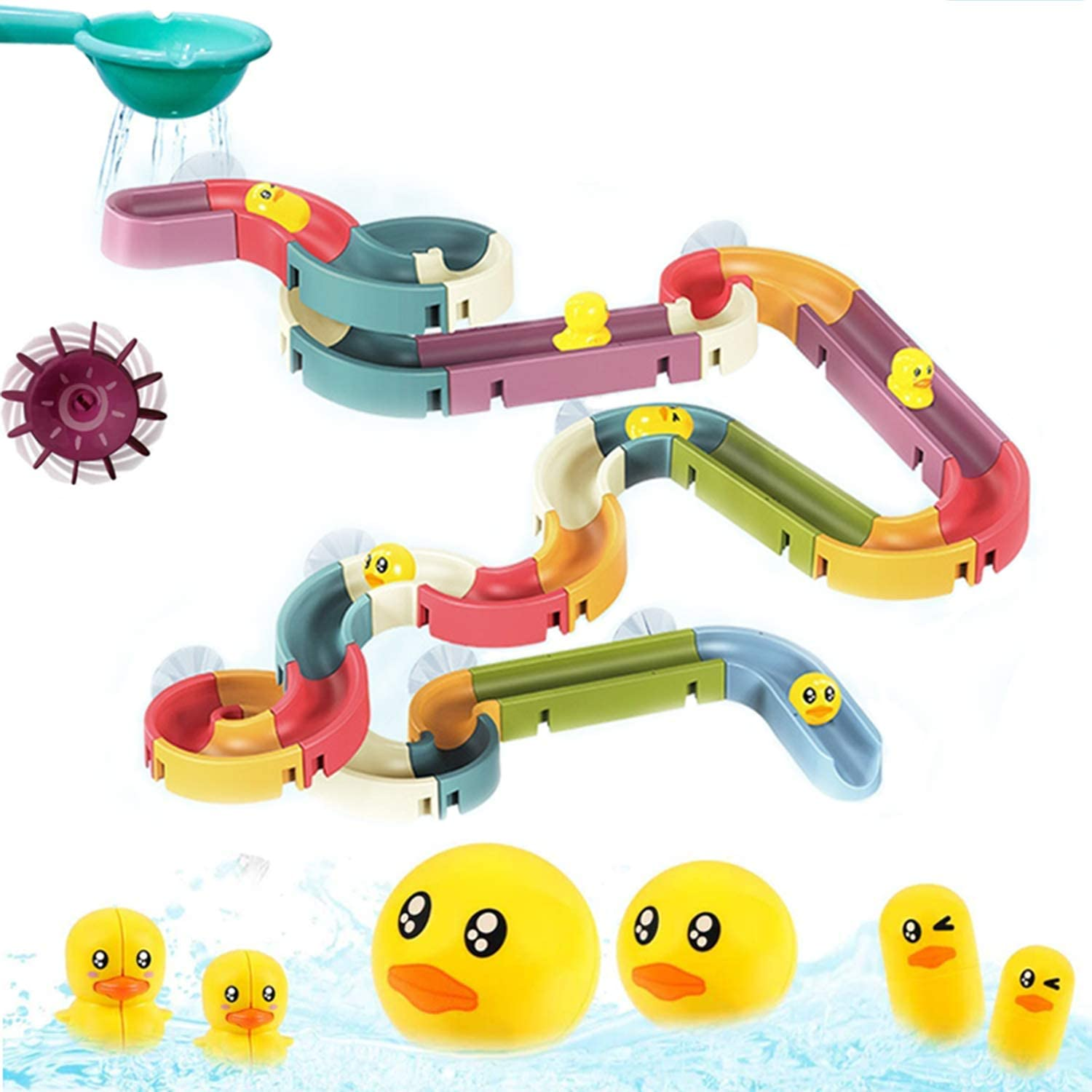 KELIWOW Kids Bath Toys Fun DIY Slide Indoor Waterfall Track Stick to Wall with Suction Cup and Wheels Water Ball Shower Floating Bathtub Toy Summer Children Favor Gift for Boys Girls