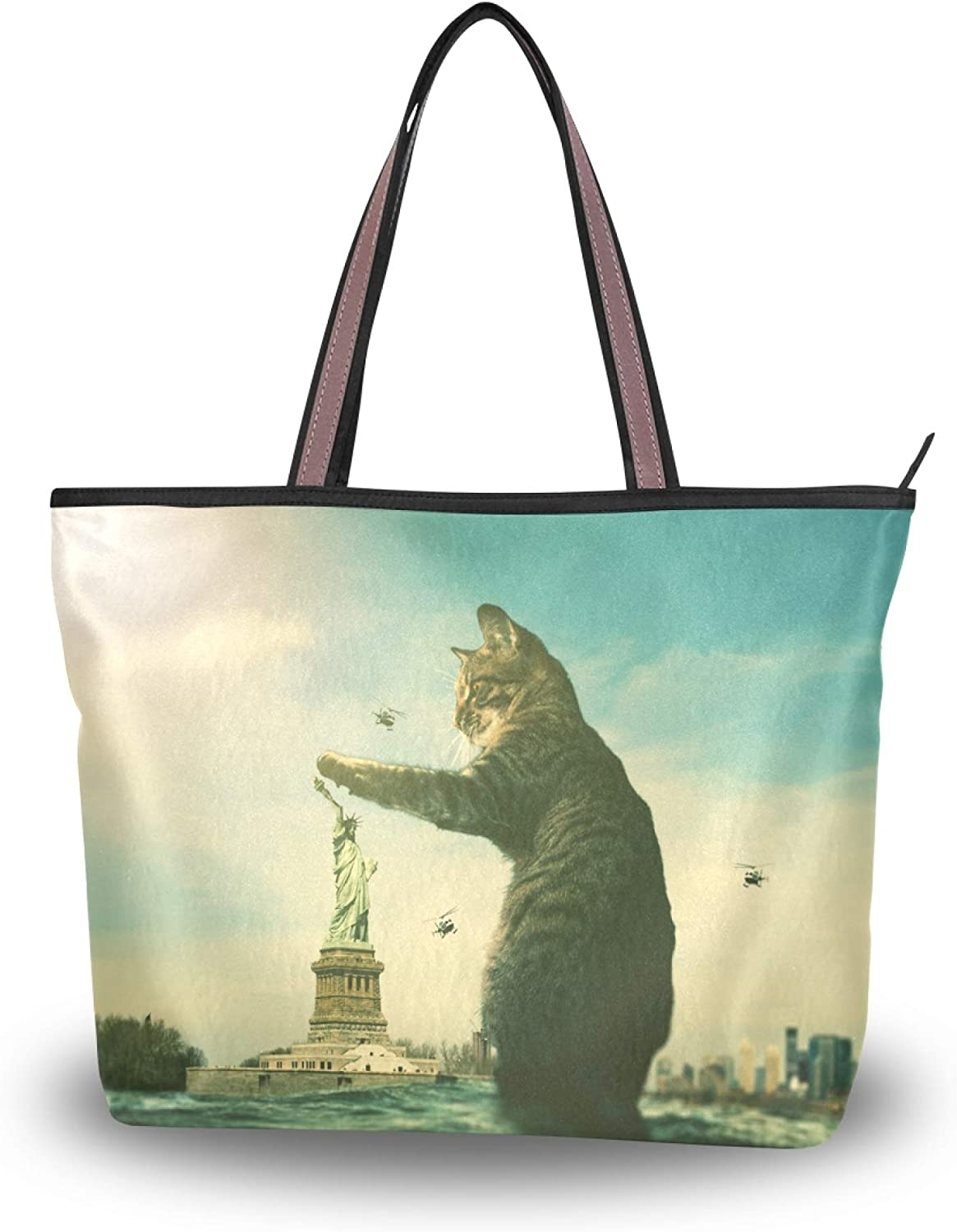 Tote Bag with Cat Elements for Women School Work Travel and Shopping (Large)