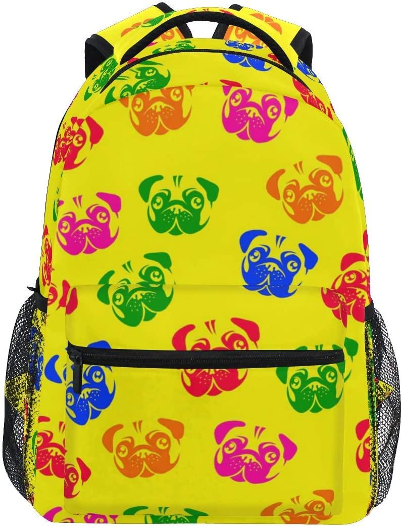 Color Pug Dog Backpack Tie-Dye Bookbag for Boys Girls Elementary School 2021957