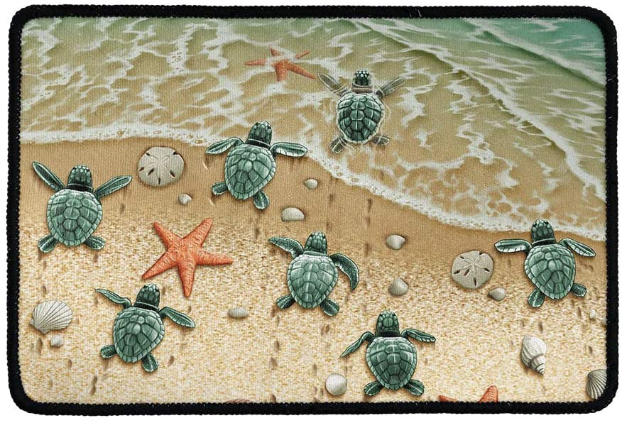 doginthehole Beach Sea Turtles Printed Door Mats for Home Entrance Non Slip Rubber Back Low Profile Front Door Rug Outdoor Heavy Duty Welcome Mat