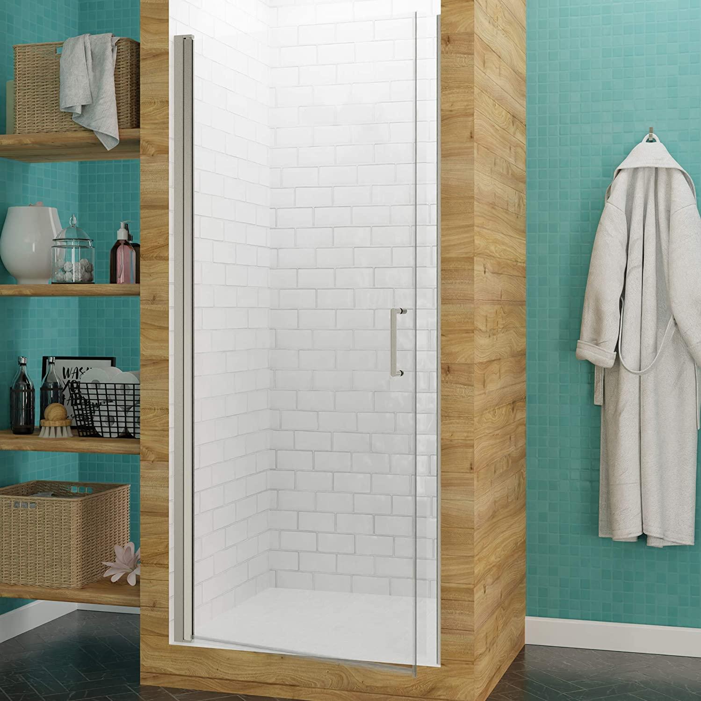ANZZI Lancer 72 x 29-inch Semi-Frameless Shower Door in Brushed Nickel | Scratch Resistant Tempered Deco-Glass Easy Door Swing Hinged Anti Water Seals Bathroom Shower Door | SD-AZ051-02BN