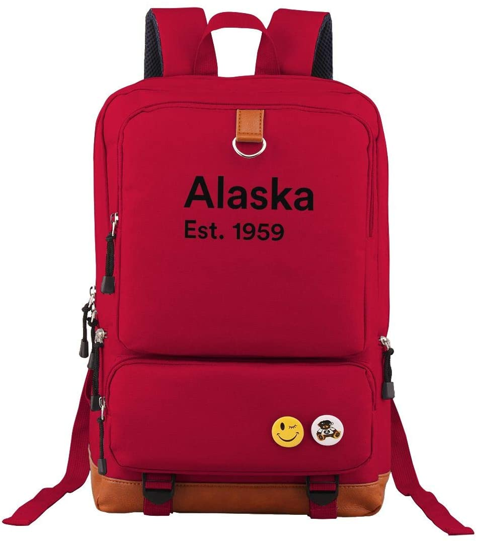 Teenager Travel Laptop Backpack Alaska Est 1959 School Bookbag Daily Shoulder Bags For Men Women