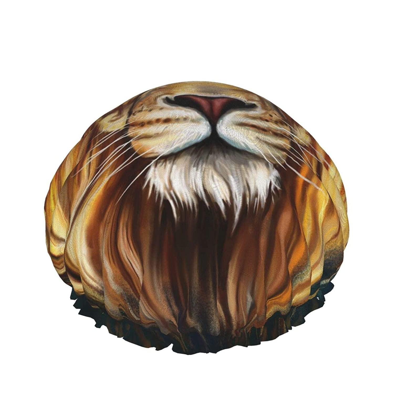 Cool Lion Painting Waterproof Shower Caps, Reusable Elastic Bathing Hair Cap, Adjustable Bath Caps for Women Men Girls, Hair Spa, Home Hotel Travel Use