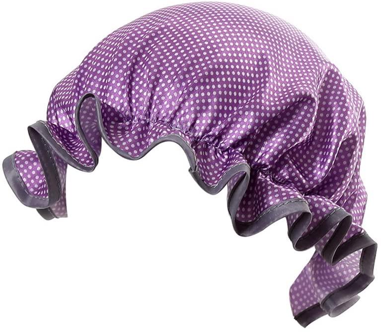 OUNONA Baby Kids Double Layer Shower Cap Waterproof Dot Shower Hat Satin Bathing Hat (Purple)