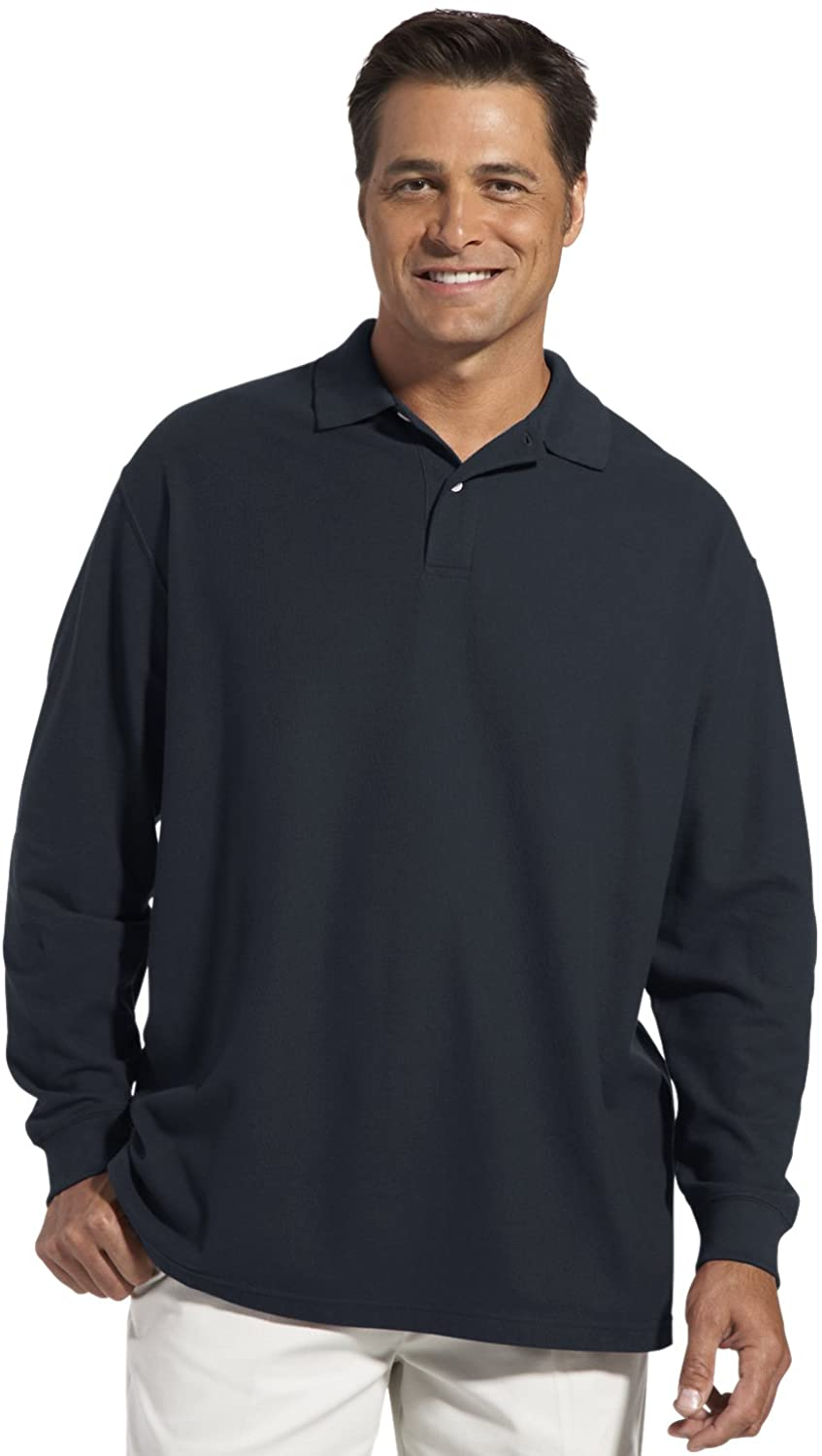 Harbor Bay by DXL Big and Tall Honeycomb Pique Polo Shirt