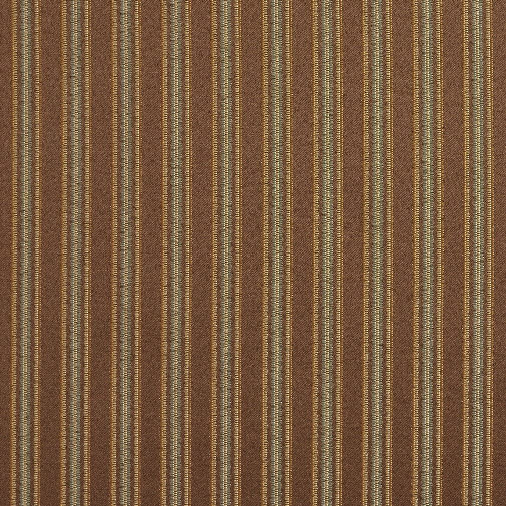 E654 Striped Brown Green and Gold Damask Upholstery and Window Treatment Fabric by The Yard