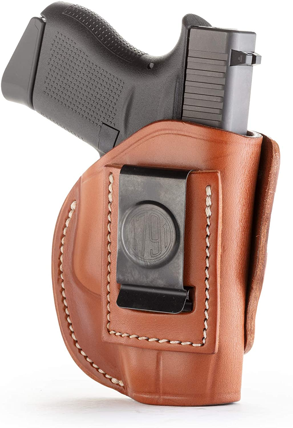 1791 GUNLEATHER 4-Way Glock 43 Holster - OWB and IWB CCW Holster - Right Handed Leather Gun Holster - Fits Glock 43 (G43), Glock 42 (G42), Kahr CW380 and S&W Bodyguard