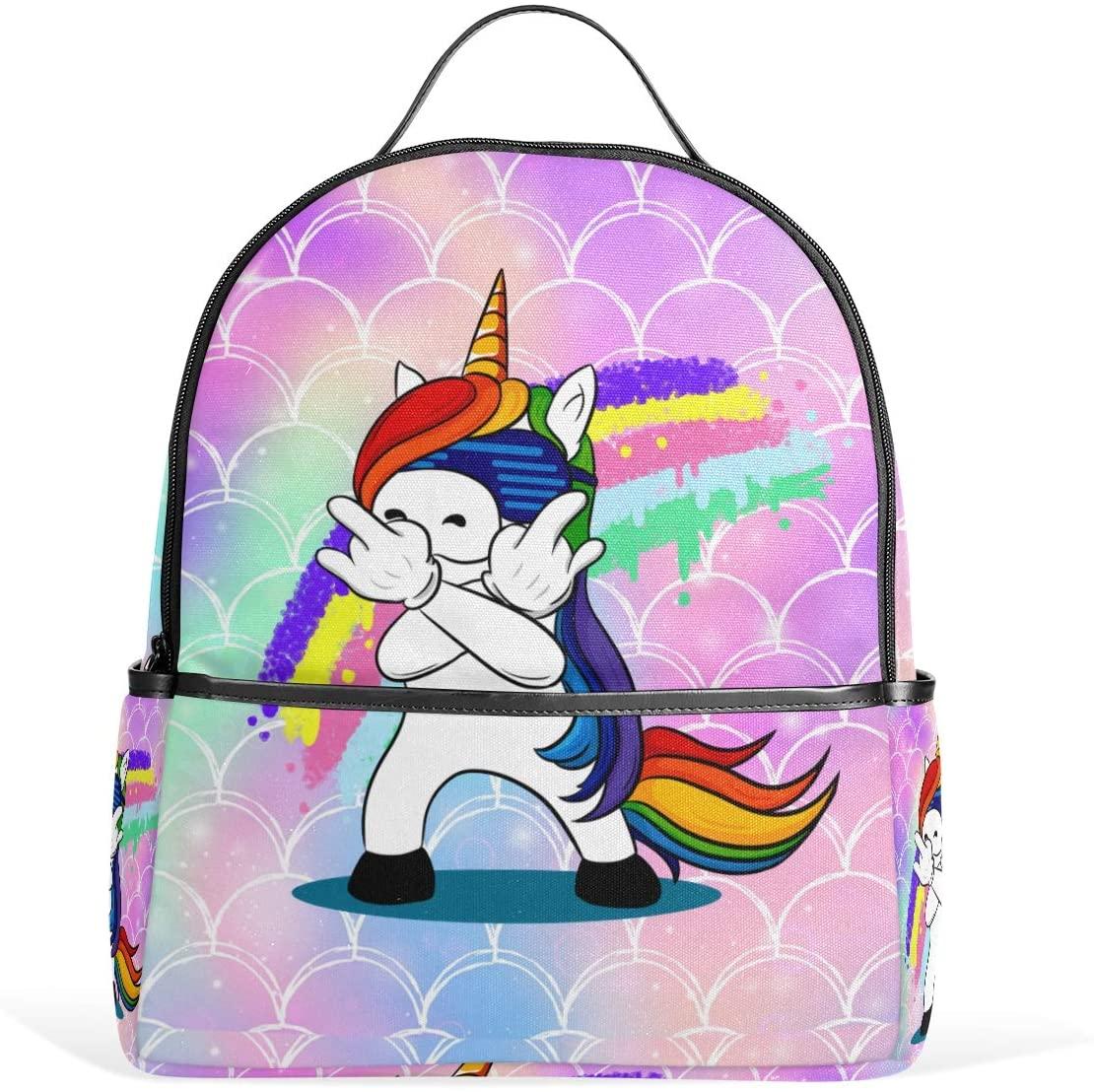 Kids' School Backpack Rock Unicorn Rainbow Galaxy Mermaid Scales Bookbag for Boys Girls Lightweight Casual Travel Bag Large Capacity Daypack