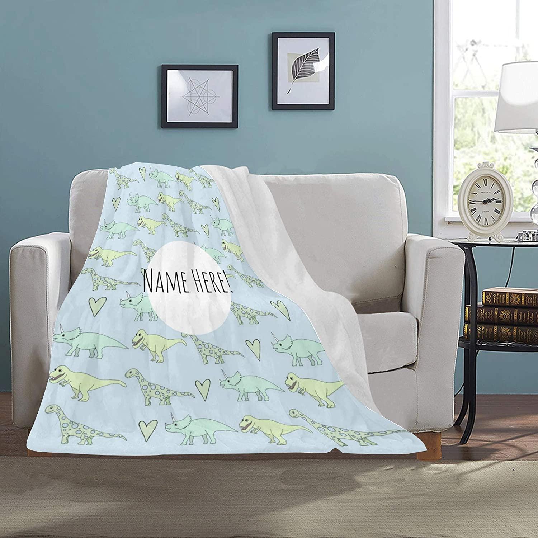 Personalized Kids Text Name Dinosaur Sherpa Blankets, Custom Text Soft Worm Fleece Plush Blanket for Boys Girls