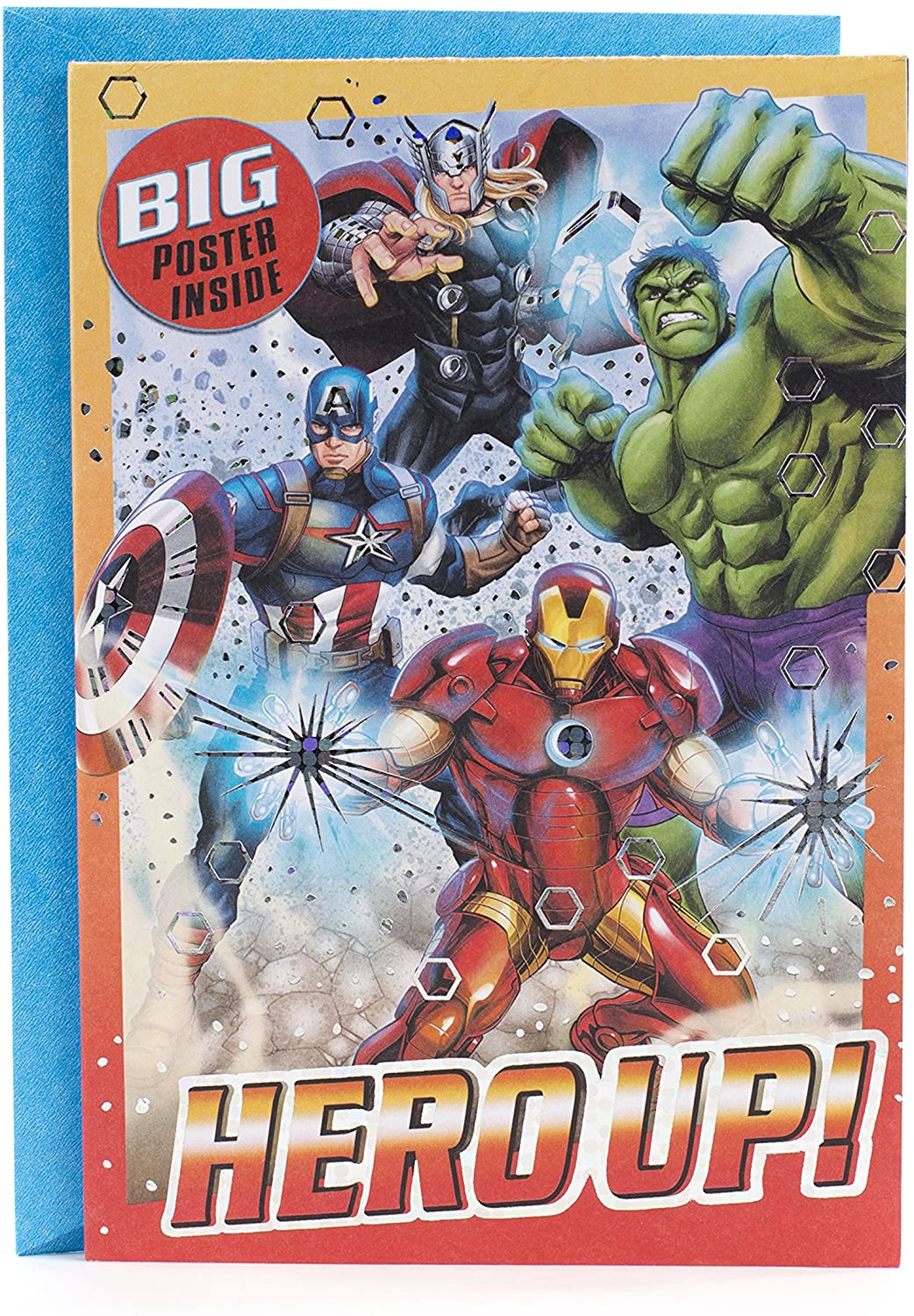 Hallmark Avengers Birthday Card with Poster (Hero Up!)