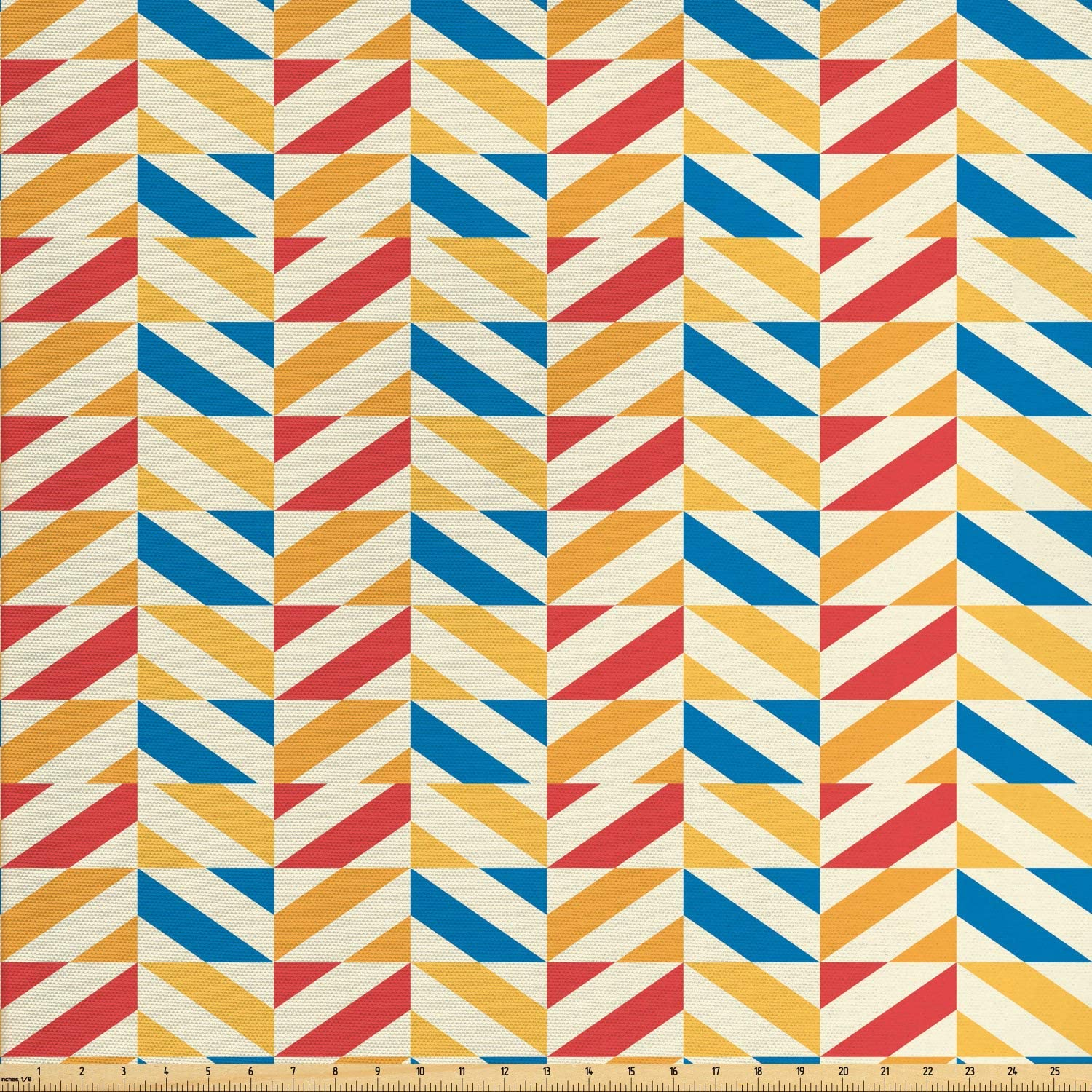 Ambesonne Retro Fabric by The Yard, Checkered Pattern with Shabby Colored Diagonally Striped Squares Retro, Decorative Fabric for Upholstery and Home Accents, 1 Yard, Marigold Scarlet