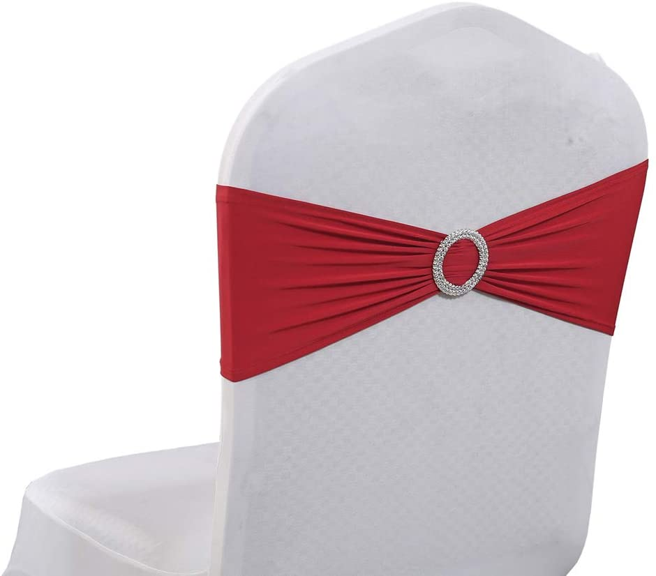 VDS Spandex Chair Sashes Bows Elastic Chair Bands with Buckle Slider for Wedding Banquet Party Event Decoration (Pack of 100) Apple Red