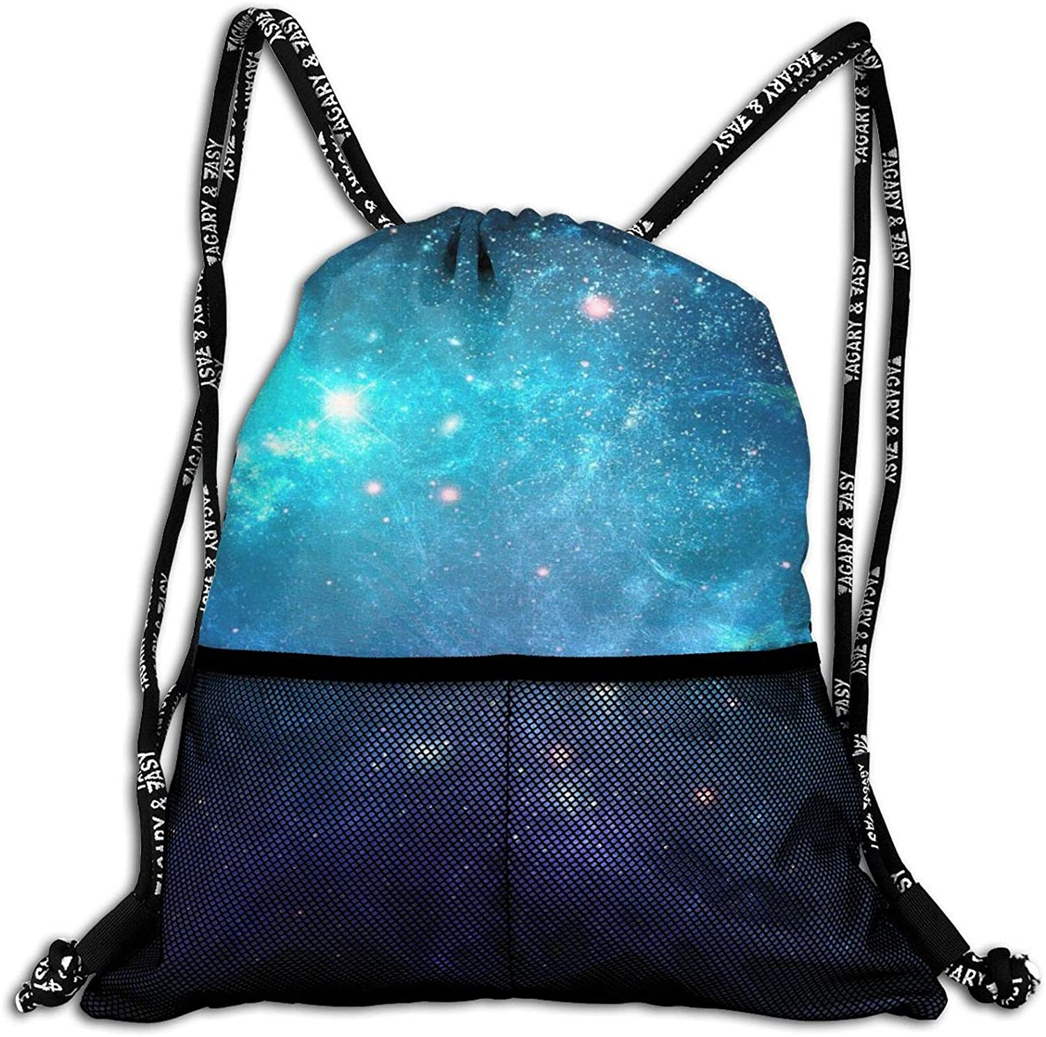 Galaxy Nebula Space Drawstring Gym Backpack String Bags for Students Teenagers Boys Girls, Multifunction Cinch Bag Sackpack for Books Sneakers Clothes Snacks