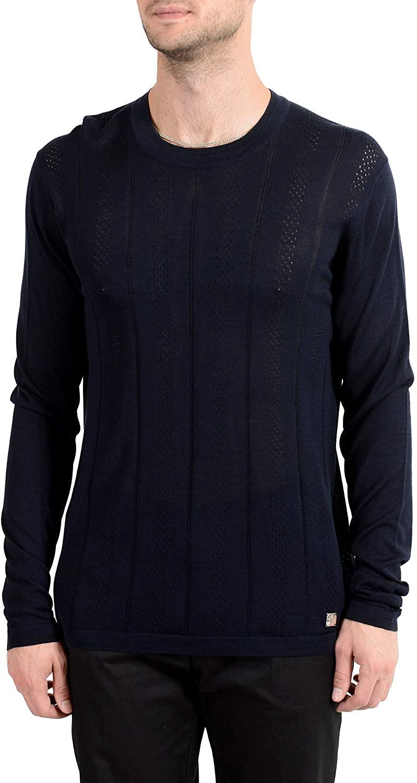 Versace Collection Men's 100% Silk Navy Blue Crewneck Light Sweater Sz US XL IT 54