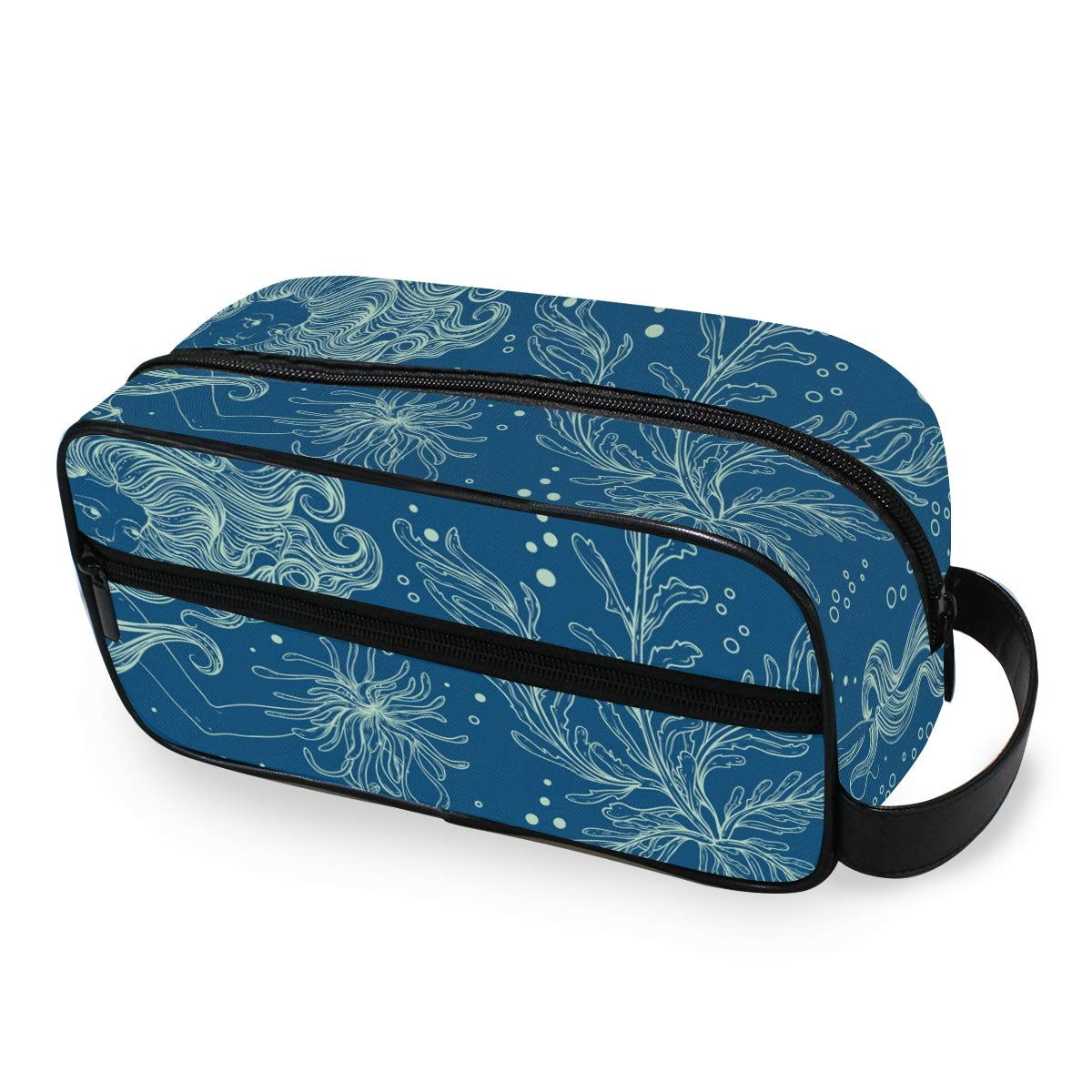 Cosmetic Bag Makeup Case Mermaid Marine Plants Corals And Seaweed Portable Toiletry Bag Organizer Accessories Case Tools Case for Trave