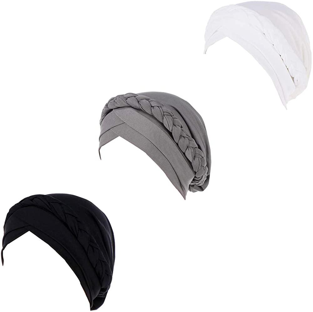 ZuoChen Braid Turban Cap Chemo Cancer Turbans for Women Beanie Scarf Headwrap