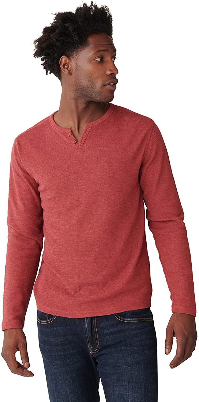 Lucky Brand Men's Long Sleeve Button Notch Neck Slub Thermal